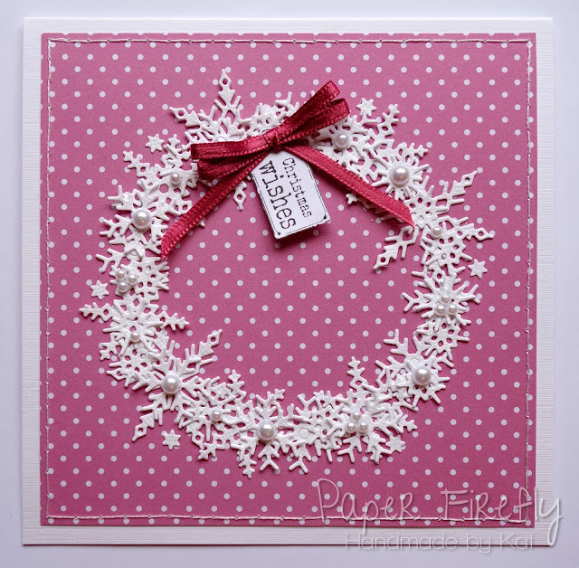 Handmade card with snowflake wreath