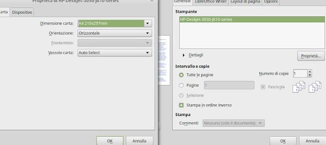 screenshot proprietà della stampante