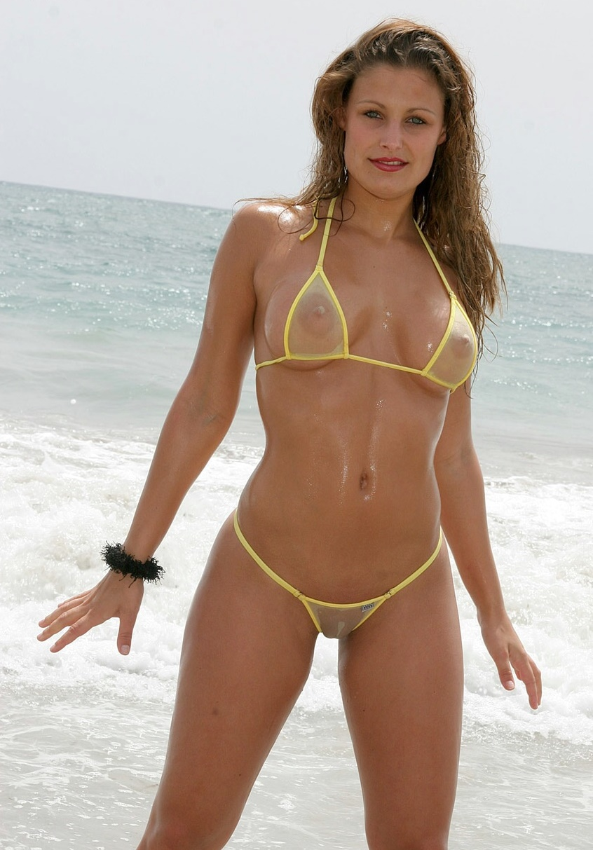 through see nude bikini in Asian yellow