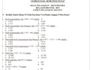 Search Results for: Soal Soal Ulangan Semester Ganjil Kelas 4 Sd