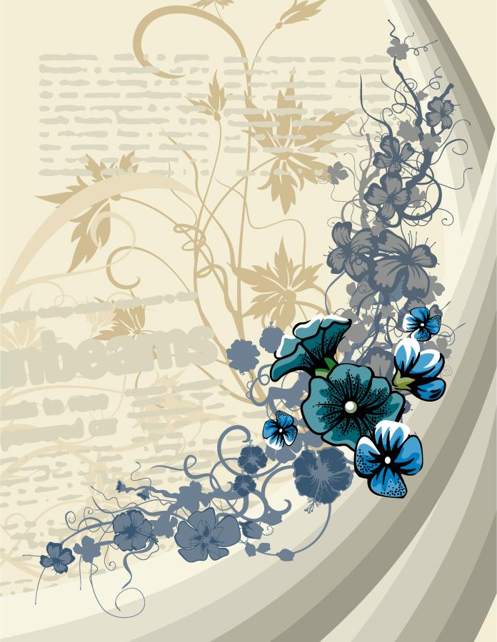 優雅な青い花ビラの背景 european style pattern イラスト素材