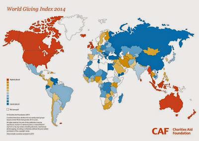 世界寄付指数 世界地図 マップ 2014 World Giving index map