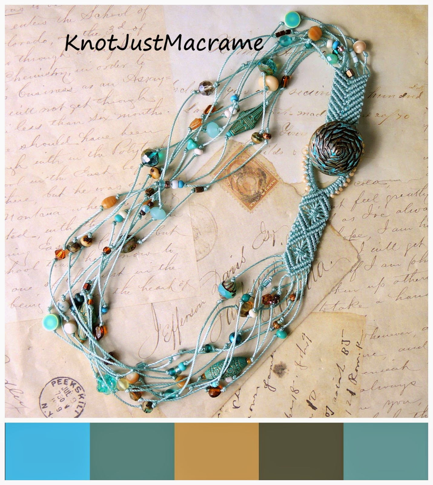 Turqouise and tan knotted macrame necklace and color palette.