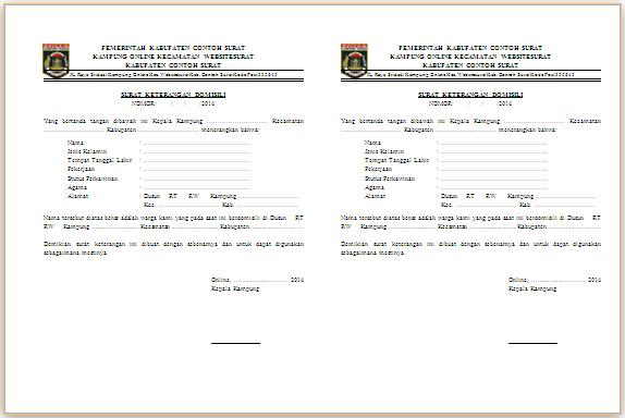 Contoh Draft Surat Keterangan Domisili dari Kelurahan
