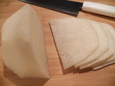 jicama slices on cutting board