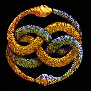 Dibujo con el amuleto de Auryn. Son dos serpientes entrelazadas