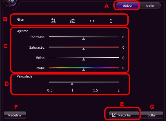 Janela funções editar vídeo