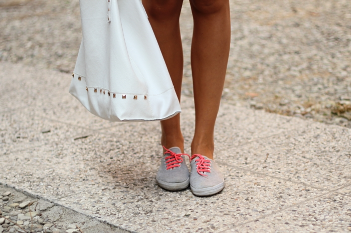 fluo sneakers, white studded Mango bag