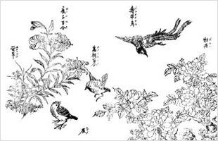 和風イラスト:雀、百合、牡丹 | フリー素材配布サイト-和風素材.com