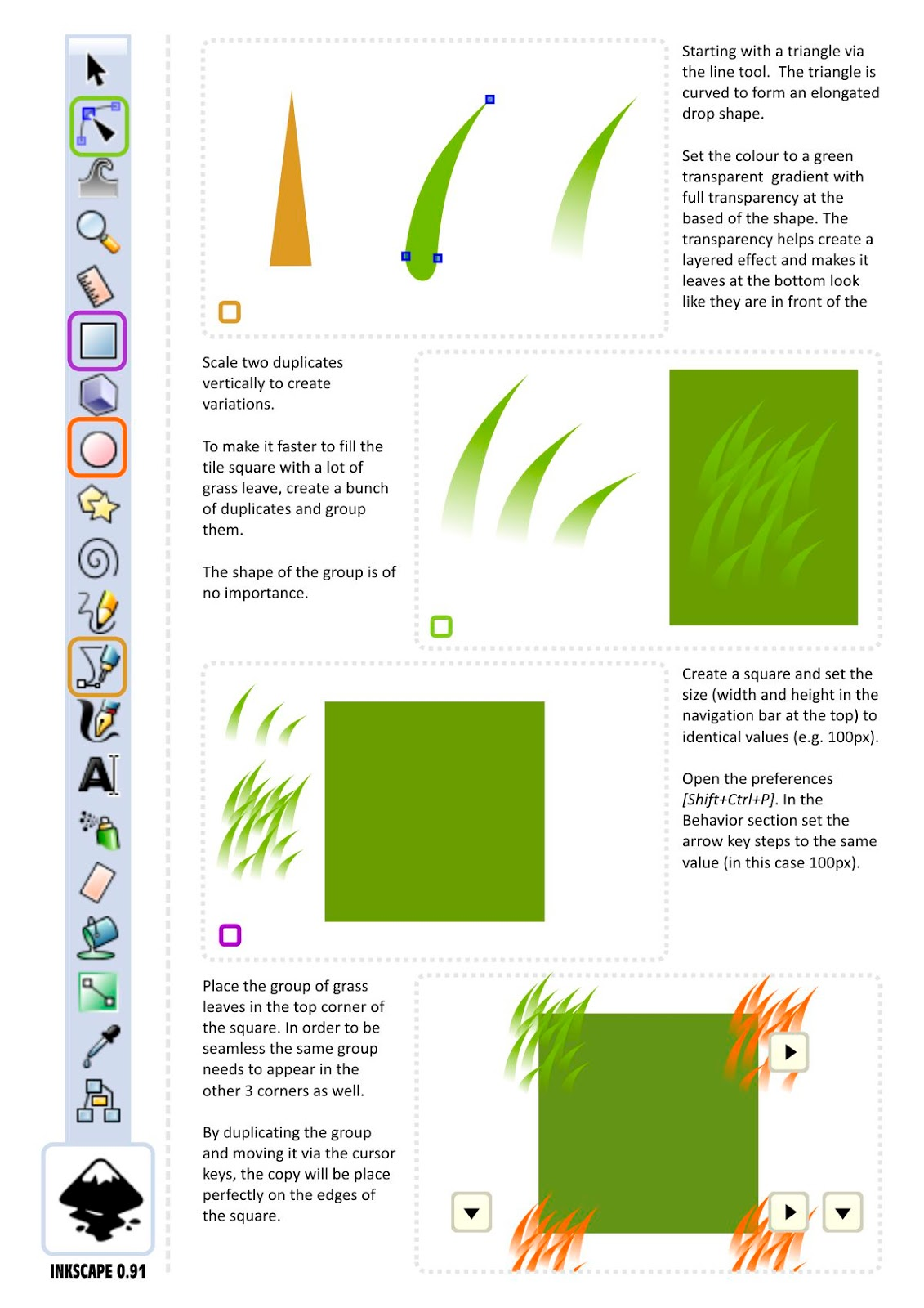 Creating seamless 2D grass tiles in vectors using Inkscape