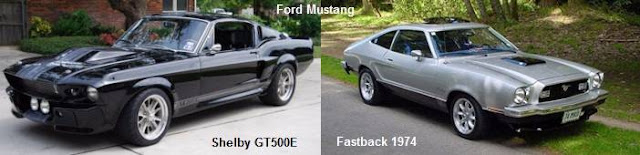 Ford Mustang Fastback 1974 y Ford Mustang Shelby GT500E