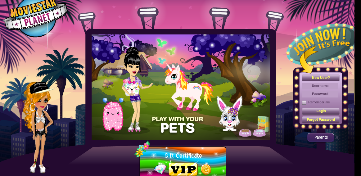 moviestarplanet login game