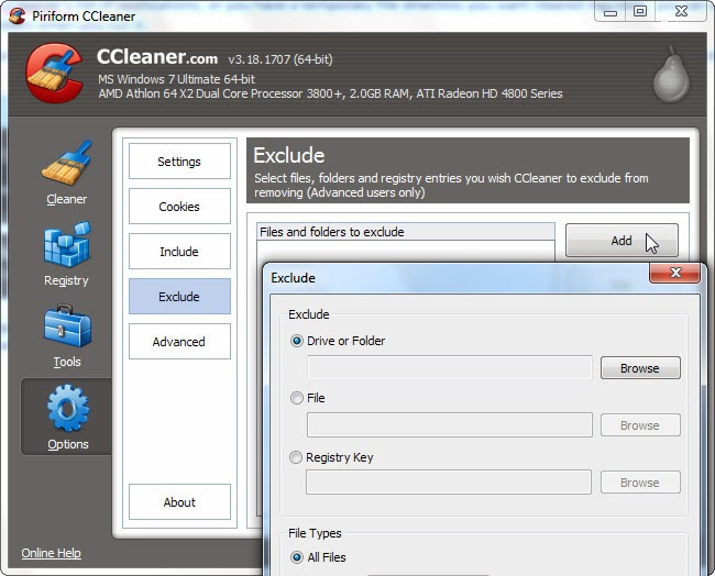استثناء ملفات ومجلدات ببرنامج ccleaner