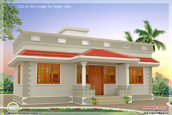 1000 sq.feet Kerala style single floor 3 bedroom home