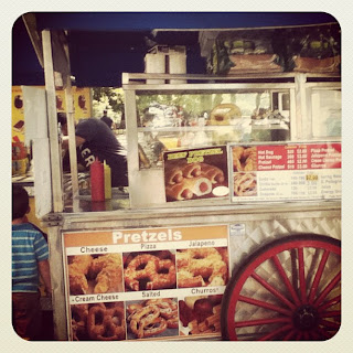 pretzel cart, food, nyc