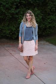 grey blouse, grey cardigan, blush lace skirt, blush laser cut heels, blush Cole Haan bag