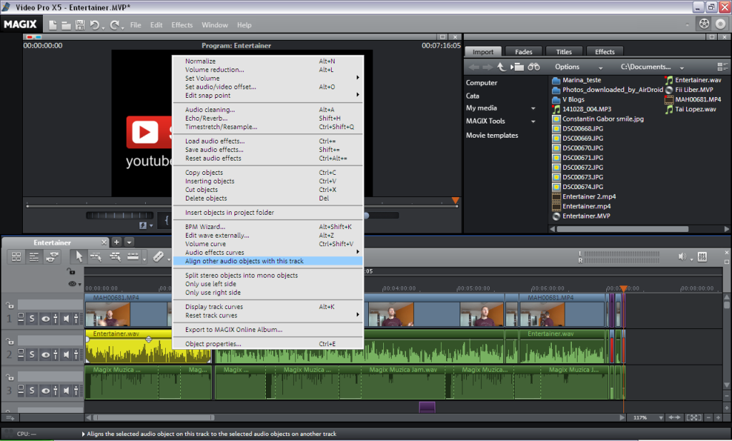 Audio Sync in Magix Movie Edit Pro Plus