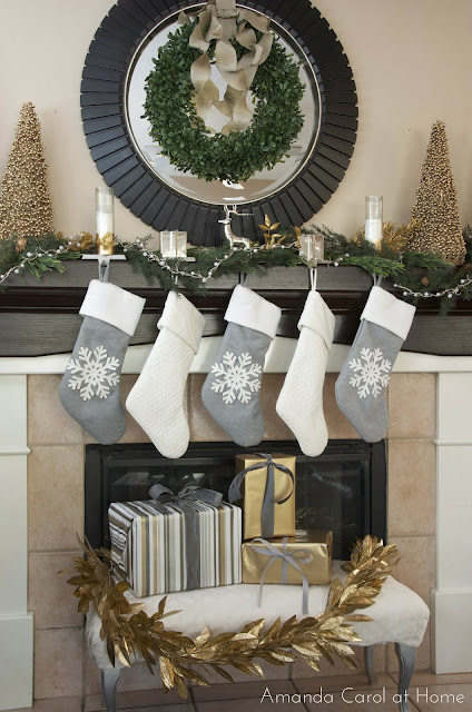 Silver & Gold Christmas mantle