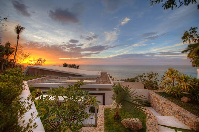 Picture of modern villa at sunset
