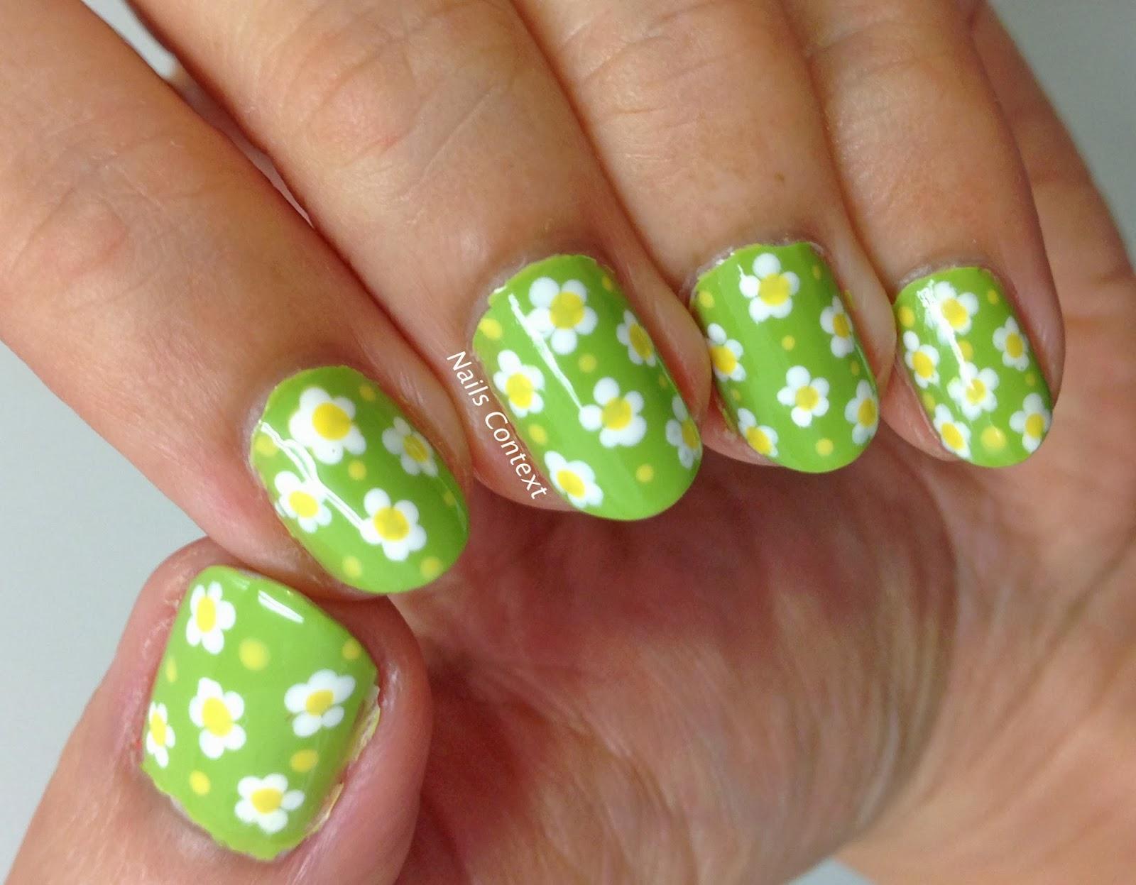 Nails Context: Green Floral Nails
