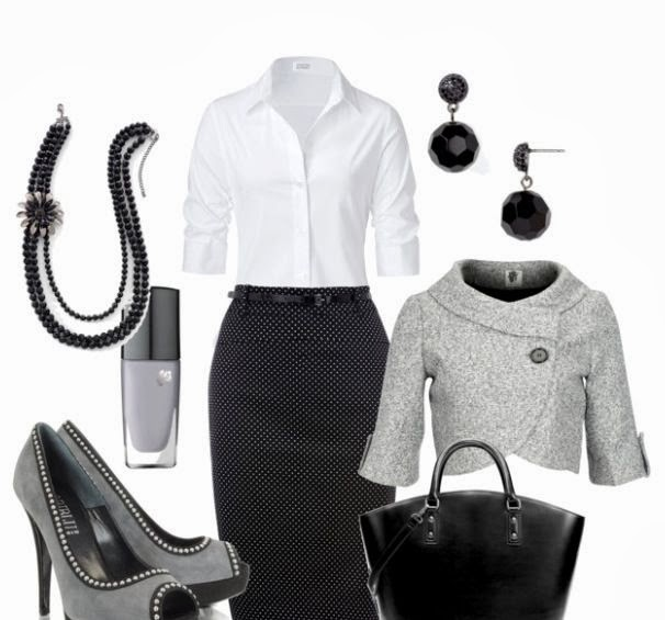 White shirt, black skirt, grey short jacket, high heels and hand bag for fall