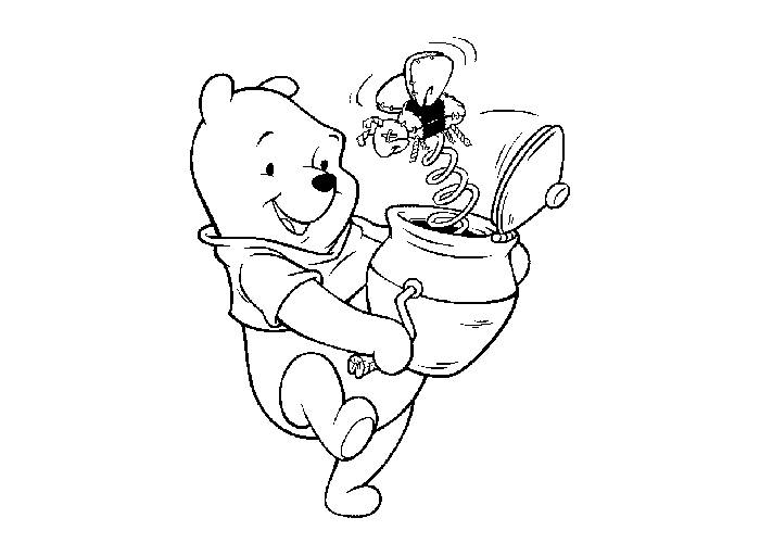 printable walt disney pooh playing coloring page for kids title=