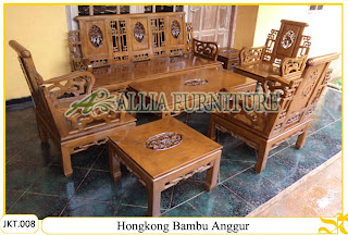 Kursi & Meja Tamu Set Ukiran Kayu Jati Hongkong Bambu Anggur