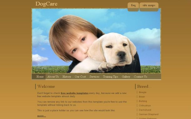 Free Animals Brown PSD CSS Website Template
