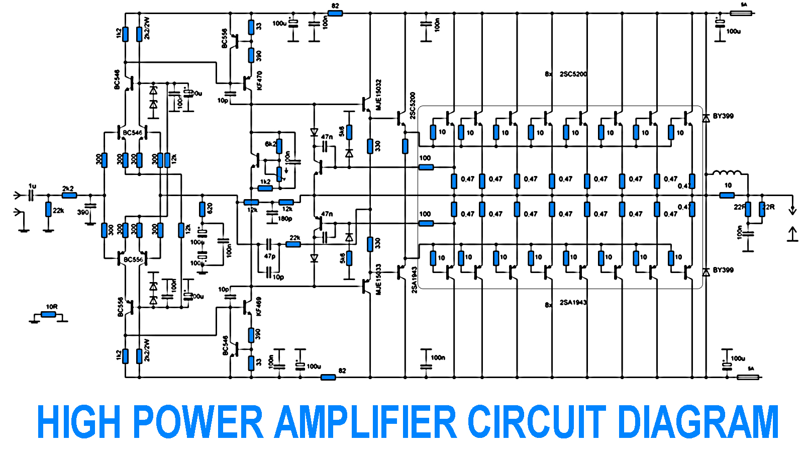 w power amplifier with sc    sa   electronic circuit  w power amplifier   sc    sa circuit diagram