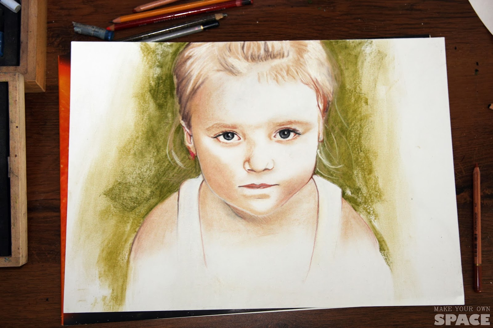 portret dziecka, dziecko, portret, pastele,
