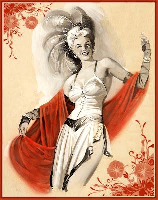ilustración vintage de dama con sombrero de plumas