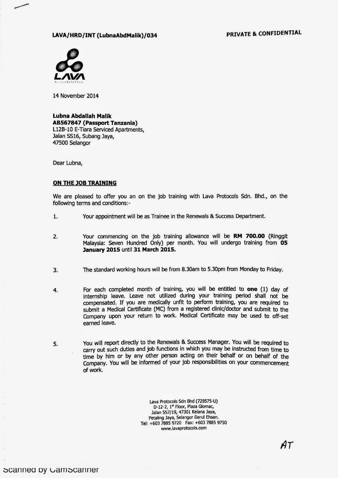 Lubna S Internship E Portfolio Jan March 2015 Important Documents