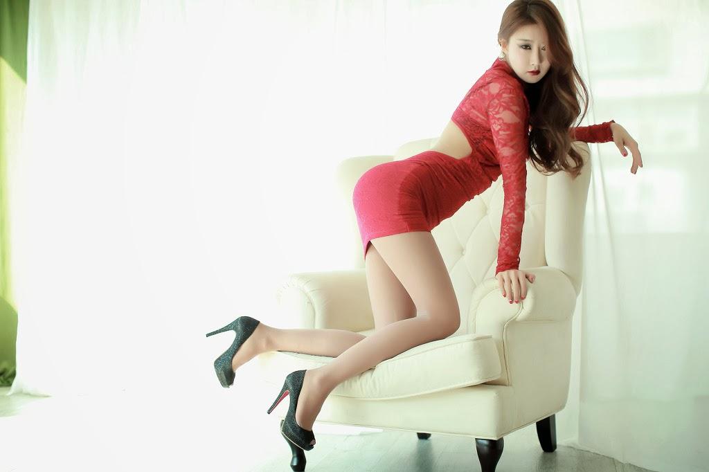 4 Park Hyun Sun In Short Red Dress - very cute asian girl-girlcute4u.blogspot.com