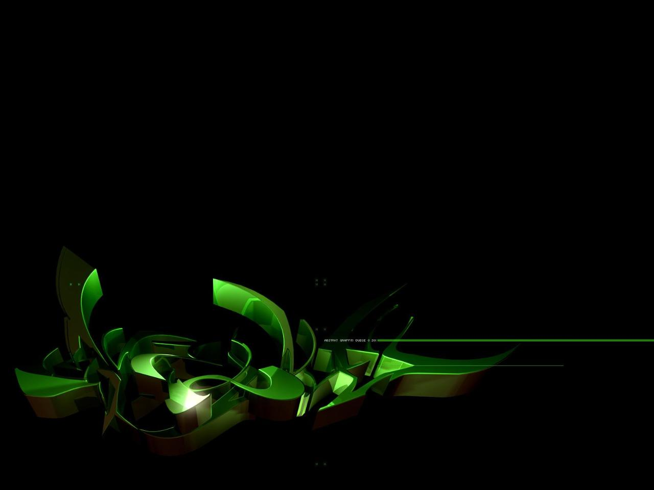 Bright Green Abstract Black Background Wallpaper
