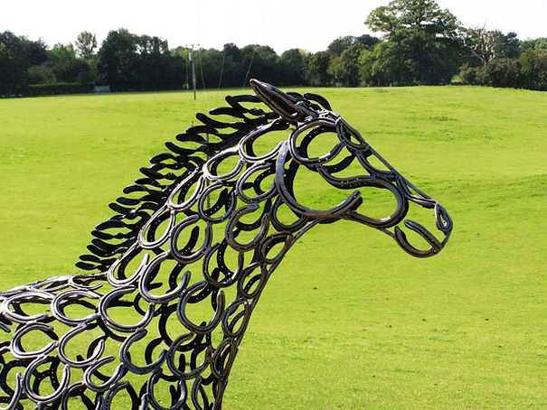 Justacargal horseshoe art by tom hill for Christmas tree made out of horseshoes