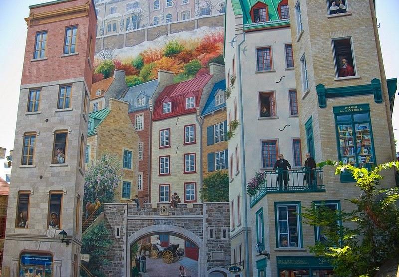 Los murales que engañan al ojo de la ciudad de Quebec