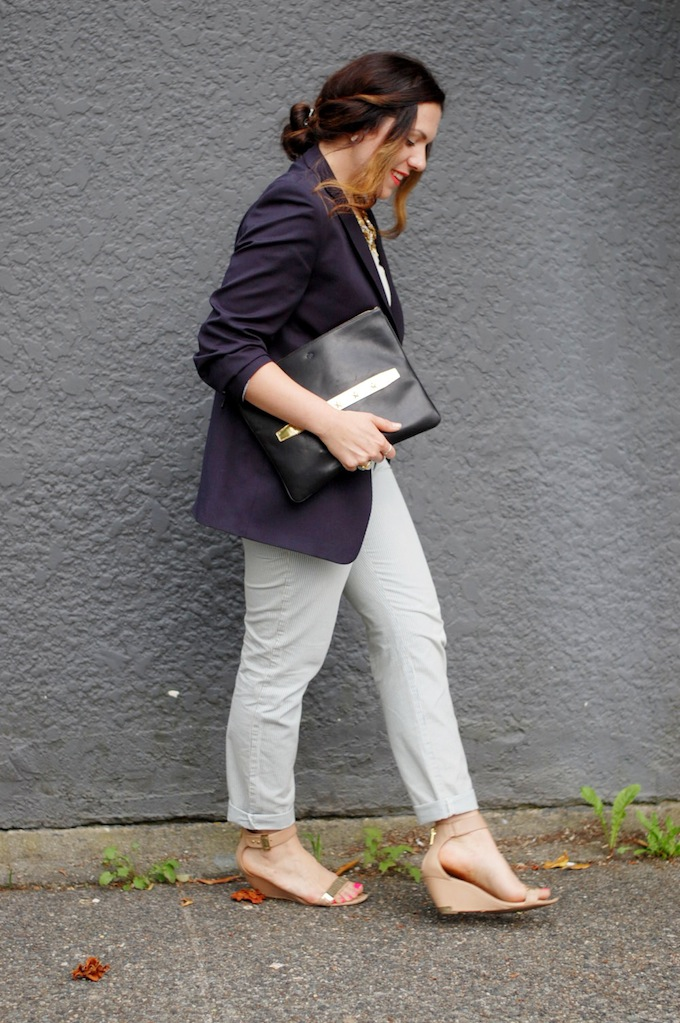 Lord & Taylor boys blazer, silk French Connection tank, conductor stripe GAP chinos and an Ela clutch from Vancouver fashion blogger Aleesha Harris of Covet and Acquire.