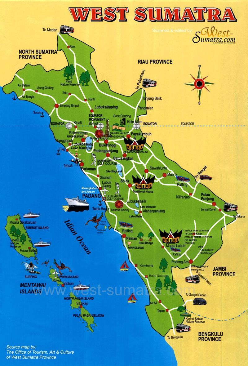 Peta wisata sumatera barat