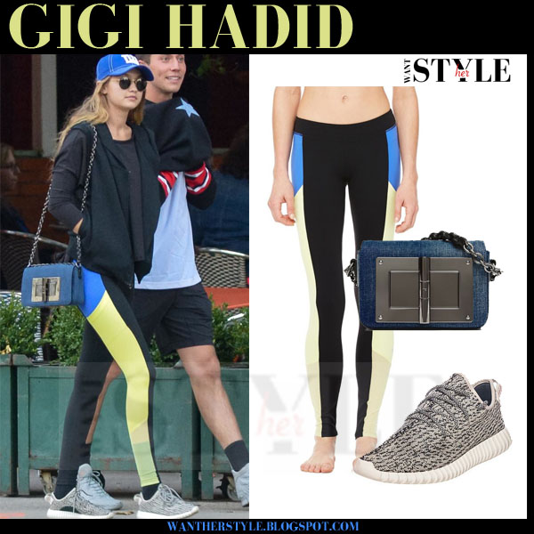 Gigi Hadid in black yellow and blue colorblock alo leggings and grey adidas yeezy sneakers what she wore workout clothes