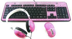 Fashionable Crystallized Computer Mice Keyboards Headphones