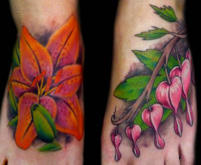 Flower tattoo on her feet