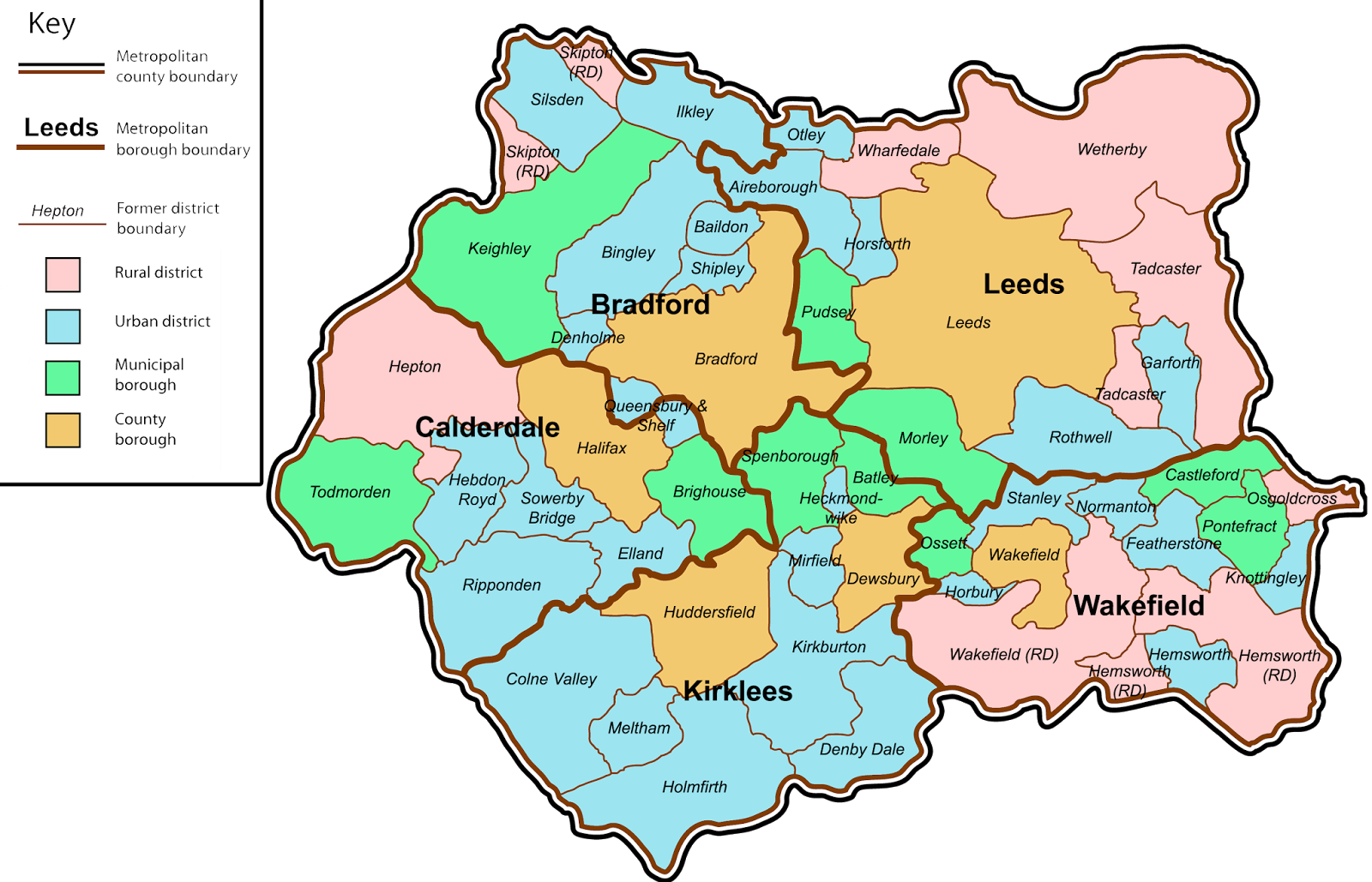 Map of West Yorkshire County UK