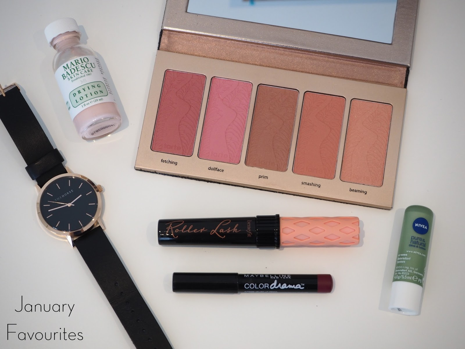 january favourites, january favorites, january makeup favourites, skincare favourites, favourite accessories, mario badescu drying lotion, tarte bling it on blush palette, the horse watch, benefit roller lash, maybelling color drama lip pencil berry much, nivea olive and lemon lip balm