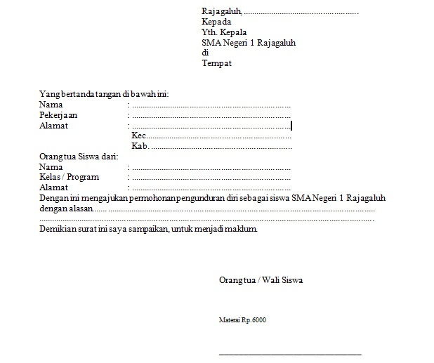 Contoh Surat Permohonan Pengunduran Diri Sebagai Siswa Contoh