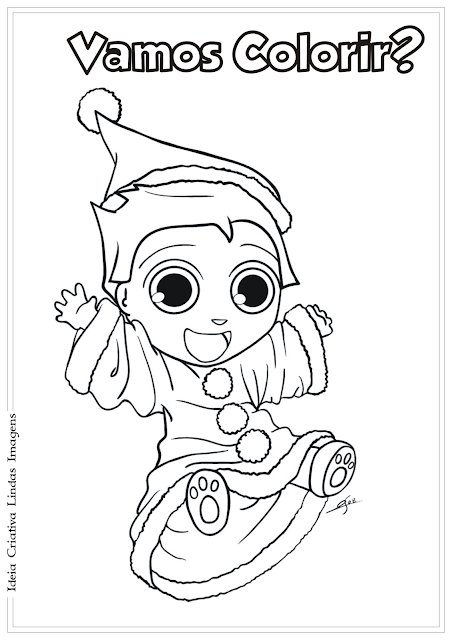 Duende Natal desenho para colorir