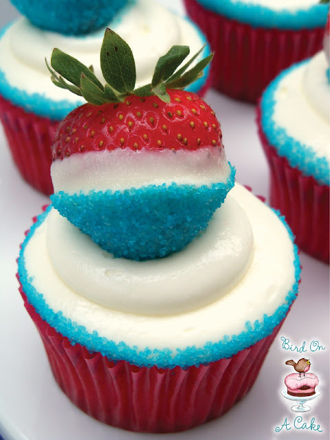 You start with strawberry cupcakes and cream cheese frosting ,