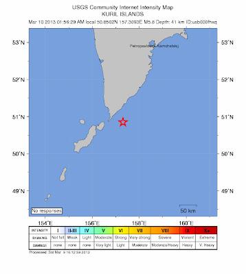 Epicentro sismo 5,8 grados en islas Kuriles, 09 de Marzo de 2013