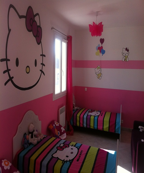 Idee d co chambre fille d coration enfant hello kitty for Photo decoration chambre bebe fille
