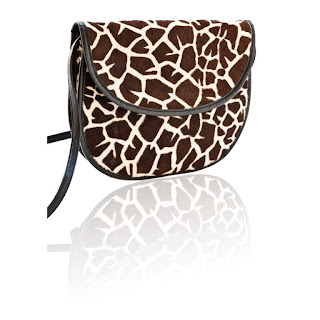 Vintage 1970's brown and white Giraffe Print Halston clutch bag.