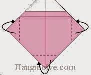 Bước 6: Gấp bo góc giấy về phía mặt sau